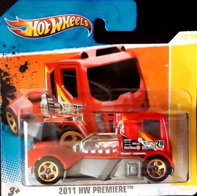 2011 Hot Wheels RENNEN RIG #19/50 HW Premier Red (SHORT CARD)