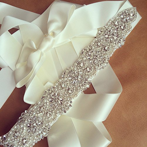 TRLYC Sale Crystal Beaded Wedding Dress Sash, Rhinestone Party Belt, Crystal Pearl