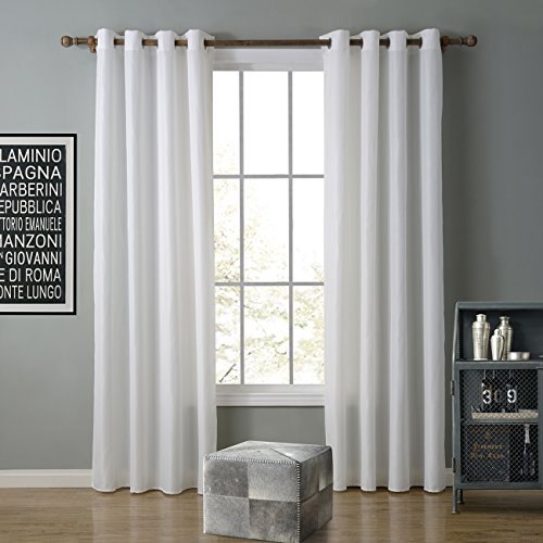KINDOBEST White Solid Color Oxford Gromment Semi-sheer Curtain(1 Panel)/drape/treatment for Bedroom/Living Room Size (42W×84L inch) - Sheer Curtain Panels 36 Length