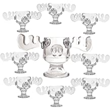 Christmas Vacation Glass Moose Mug Punch Bowl Set w/ Set of 8 Moose Mugs