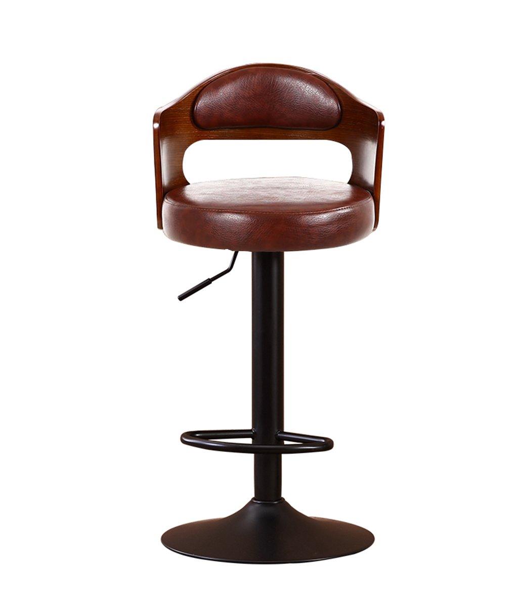 I C-J-Xin Household Bar Chair, Solid Wood Backrest Lift redate High Stool Bar Stool Cash Register Backrest Bar Chair 40  86CM Novel Style (color   E)