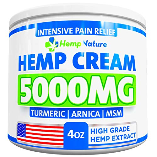 Hemp Pain Relief Cream - 5000 MG - Made in USA - 4OZ - Relieves Muscle, Joint Pain - Lower Back Pain - Inflammation - Hemp Oil Extract with MSM - EMU Oil - Arnica - Turmeric