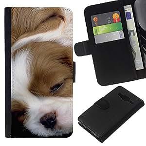 EJOY---La carpeta del tirón la caja de cuero de alta calidad de la PU Caso protector / Samsung Galaxy Core Prime / --Pointer Inglés raposero perrito de Jack Russell