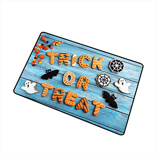 RelaxBear Halloween Inlet Outdoor Door mat Fresh Trick or Treat Gingerbread Cookies on Blue Wooden Table Spider Web Ghost Catch dust Snow and mud W15.7 x L23.6 Inch -