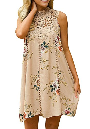 OMBabe Women's Casual Lace Summer Beach Boho Floral Print Mini Dress