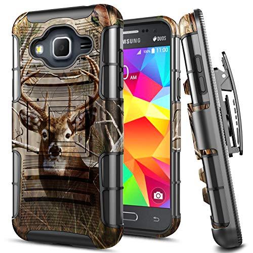 Galaxy Sky Case, J36V, J3 (2016), J3V, Sol, Amp Prime, Express Prime Case, E-Began Belt Clip Holster Kickstand Hybrid Cover Heavy Duty Armor Defender Shockproof Rugged Case for Samsung Galaxy J3 -Deer