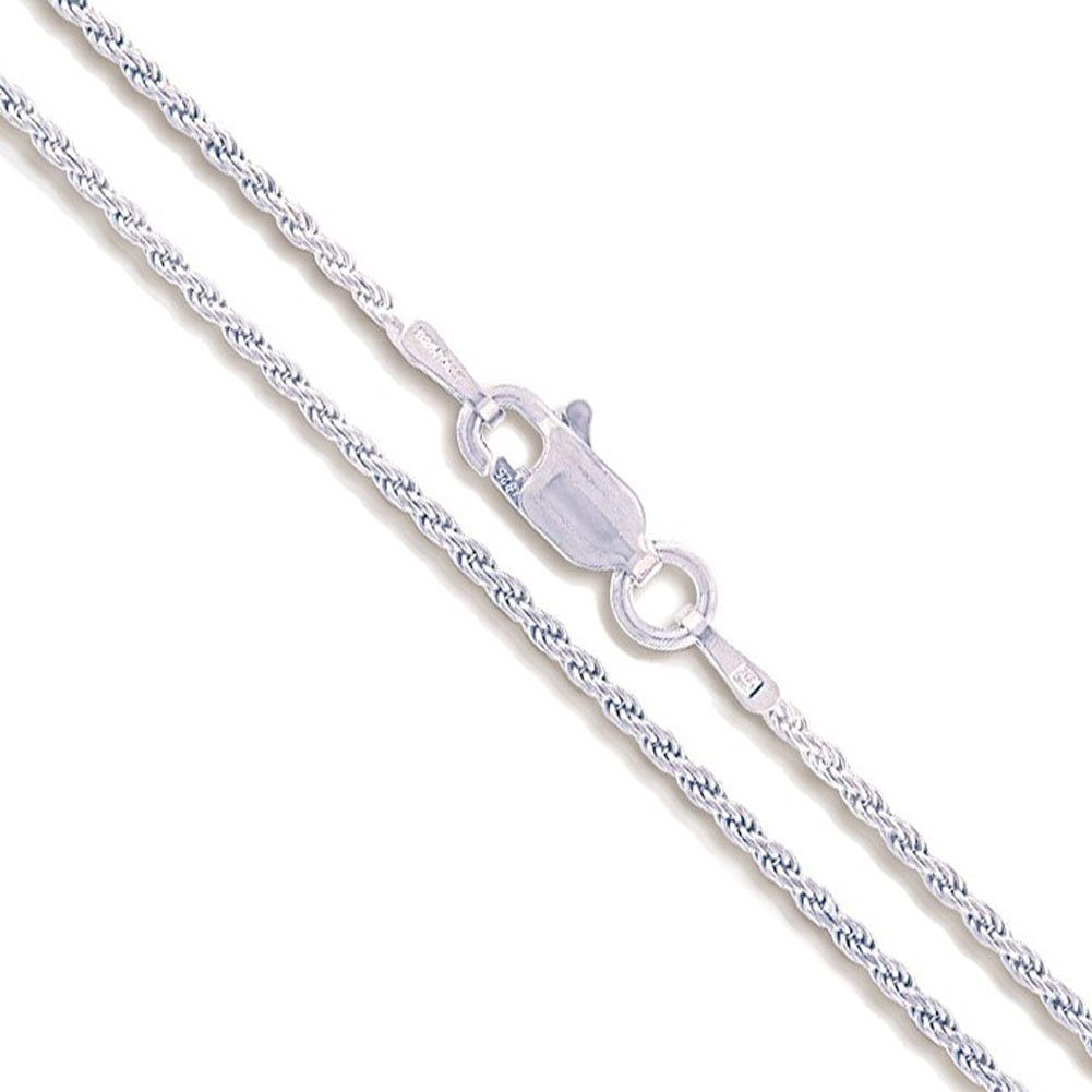 Sterling Silver Diamond-Cut Rope Chain 1.1mm 1.4mm 1.5mm 1.7mm 2.2mm Solid 925 Italy New Necklace Sac Silver