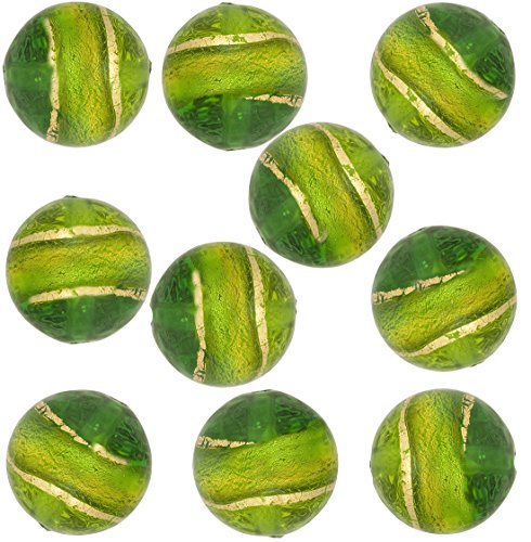 Green and Dark Green with Gold Band Round 8mm, 10 Pieces Murano Glass Bead - 8mm Round Venetian Lampwork Bead