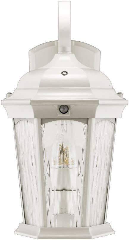Euri Lighting EFL-140W-MD Flame Lantern Water Glass, with Integrated Security Light (3000K), Photocell and Motion-Sensor (Dusk-to-Dawn), White Housing