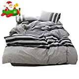 Twin Comforter Sets for Adults 3 Piece Cotton Striped Duvet Cover Set Twin Hotel Quality Reversible Luxury Bedding Set Lightweight Kids Men Boys Duvet Comforter Cover Set for Teens Adults Modern Twin Bedding Collection