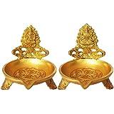 Metaldecor Decorative Oil Lamp with Ganesh Lakshmi Ji Brass Table Diya Showpiece| for Home Decoration (Yellow)
