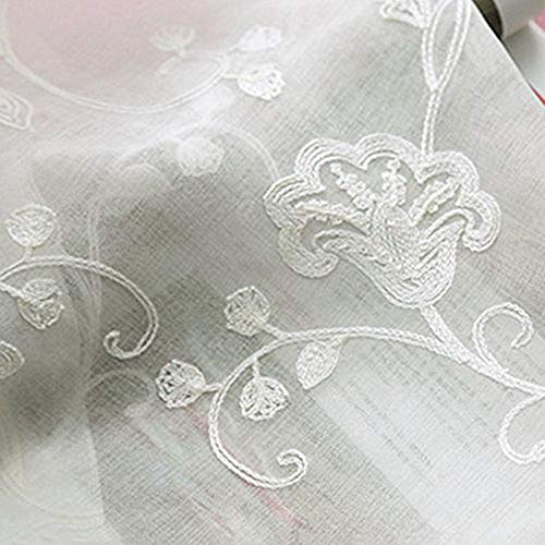 AliFish 1 Panel Country Style Floral Embroidered Rod Pocket Top Adorable Morning Glory Pattern Window Treatment Pespective Tulle Voile Sheer Curtain Panels for Living Room W39 x L63 inch