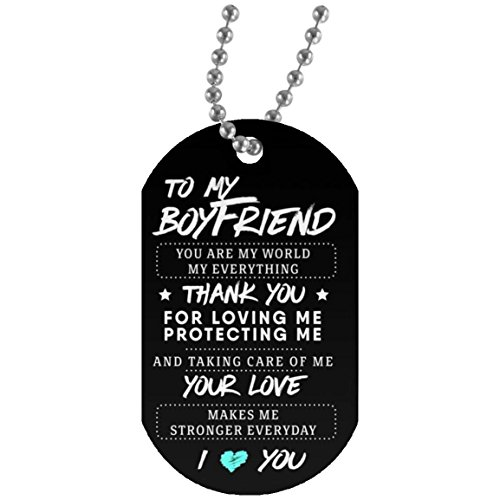 Customized Boyfriend Dog Tagfrom Girlfriend Pendants - Your Love Make Me Stronger Everyday - Great Valentine Gift for Your Men 30 Inch Silver Beaded Chain