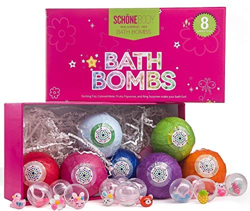 Kids 8XL Bath Bombs Gift Set with Surprise Ring Toys - Schone Body Bath Fizzies, Safe for Kids, Surprise Toys, Great Ingredients that Don't Stain the Tub