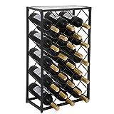 LEMY Metal 23 Bottles Wine Rack Free-Standing Floor Wine Display Shelf W/Glass Table Top Diamond Design