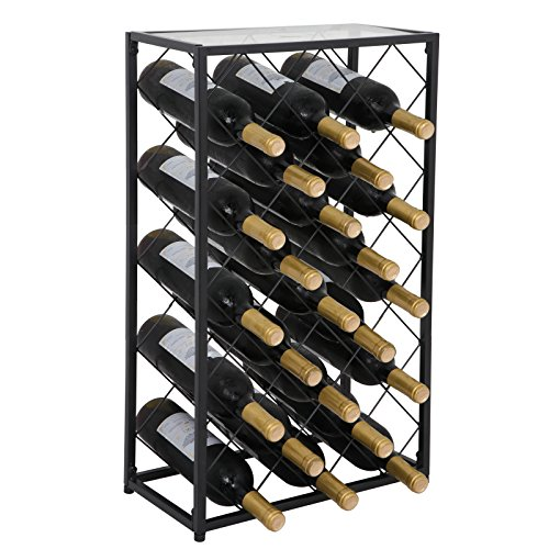 HomGarden Wine Rack w Glass Table Top, Wine Bottle Holder Free Standing Storage Rack Metal Home Decor Liquor Cabinet 23 Bottle