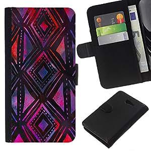 Stuss Case / Funda Carcasa PU de Cuero - Modelo p¨²rpura Negro mano del arte - Sony Xperia M2