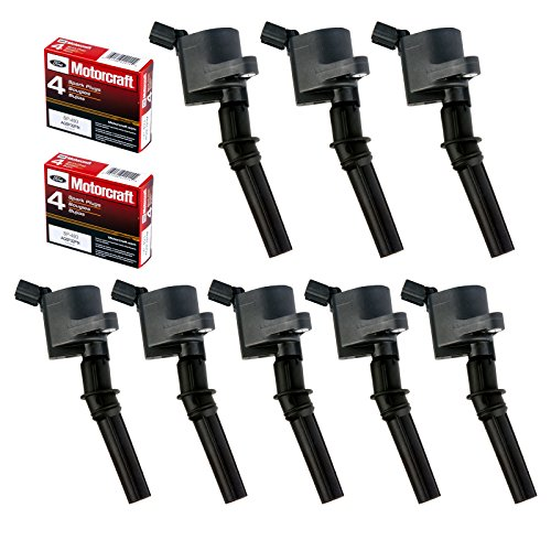 MAS Set of 8 Ignition Coil DG508 & Motorcraft Spark Plug SP493 for Ford Lincoln Mercury 4.6L engines DG457 DG472 DG491 F523 3W7Z12029AA 1L2U12029AA 1L2U12A366A