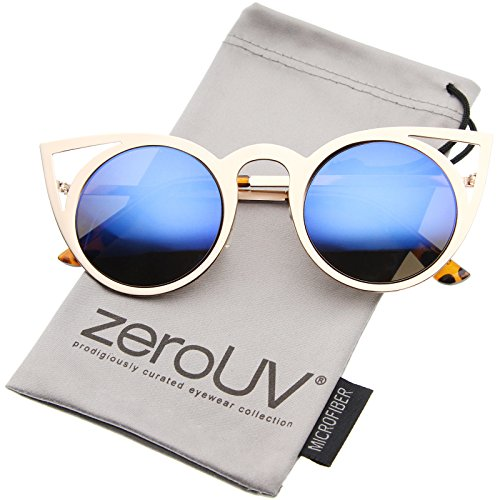 zeroUV - Womens Fashion Round Metal Cut-Out Flash Mirror Lens Cat Eye Sunglasses (Gold / Blue Mirror)