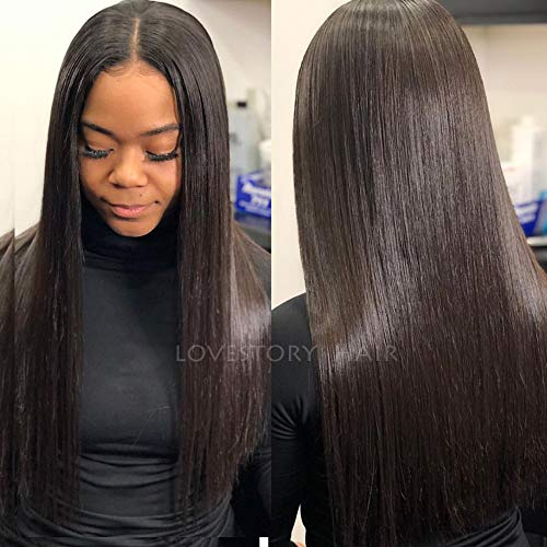 - Lovestory 50% Light Yaki Synthetic Lace Front Wigs For Women Yaki Straight Natural Hair Wigs With Baby Hair 180 Density (18-20 inch)