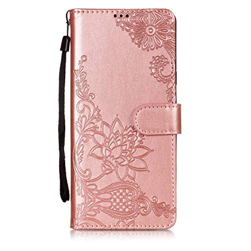 (Shinyzone Wallet Case for Samsung Galaxy Note 9,Embossed Henna Mandala Pattern Series,Smart Stand and Magnetic Closure Leather Folio Flip Cover with ID Credit Card Slots-Rose Gold)