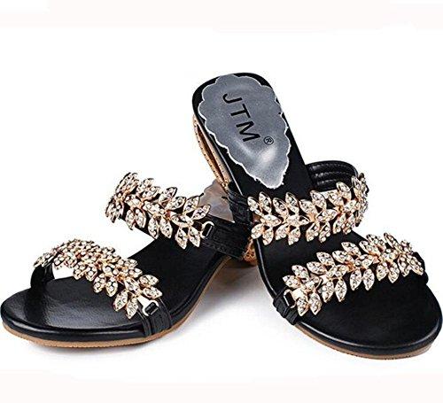 sandales des avec Mesdames taille ouvert grande pantoufles bout cool de à mode 3 strass KUKI xqwYEAXE