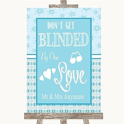 Señal de boda azul de invierno para gafas de sol con texto ...