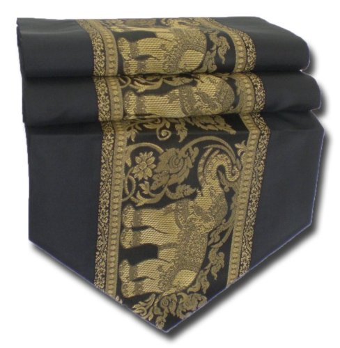 tablecloth tablerunner table runner linen Thai Silk Elegant Elephant many colors black blue red winered brown white gold purple green two sizes 150 cm or 200 cm long TC001-TC010 (black, 150 cm x 33 cm) by by soljo
