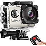WIFI Sports Action Camera, Waterproof 1080P FHD Camcorder, Qipexeii 12MP 2 inch Screen With 2.4G Remote Control ,19 Mounting Kits, 2 Pcs 1050mAh Rechargeable Batteries and Portable Package (Silver)
