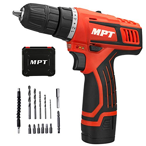 MPT 12V 3/8 inch Cordless Compact Drill with 1.5Ah Lithium-ion Battery,1 Hour Fast Charger Variable Speed Max Torque 230 in-lbs 18+1 Position with LED