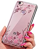 Back cover for Xiomi Mi Max 2 New Edition Case For Xiaomi Mi Max 2 Shockproof Silicone Soft TPU Transparent Auora Flower Case with Sparkle for Xiomi Mi Max2 Back Cover (Gold)