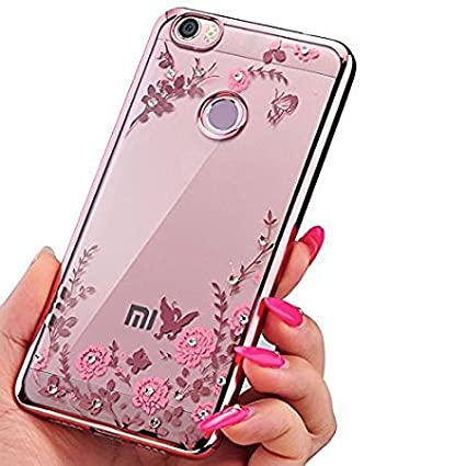 sports shoes c081c e900e LOXXO Shockproof Silicone Soft TPU Transparent Aurora Flower Back Cover for  Xiomi Mi Max 2(Gold)