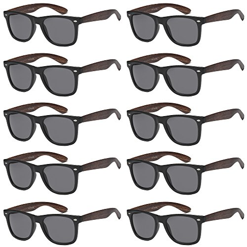 WHOLESALE UNISEX 80'S RETRO STYLE BULK LOT PROMOTIONAL SUNGLASSES - 10 PACK (Matte Black + Wood Print / Smoke, 52 -