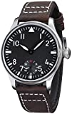Fanmis 44mm Black Dial Luminous Dark Brown Leather Strap Wrist Watch Hand-Wound Movement