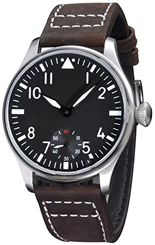 - Fanmis 44mm Black Dial Luminous Dark Brown Leather Strap Wrist Watch Hand-Wound Movement