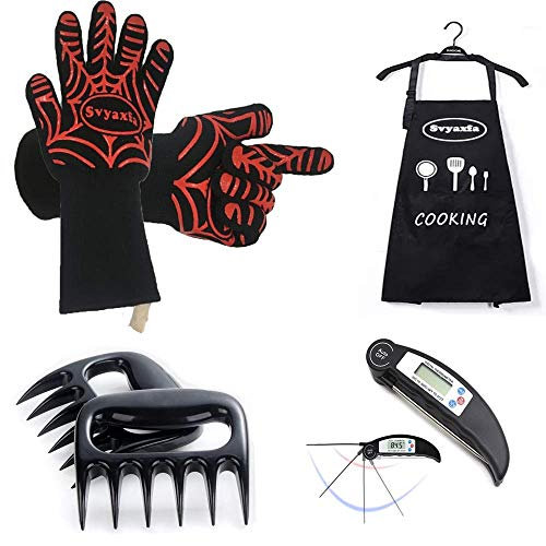 BBQ Gloves a Pair Meat Thermometer Apron and Meat Shredder Claws 4 in 1 (6pack) Bbq grill set For Indoor & Outdoor Cooking Grilling Baking Barbecue with Gift Box
