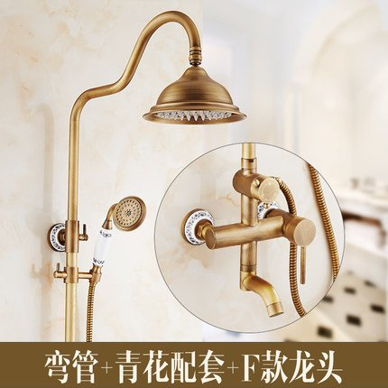 F3 GFEI European style antique shower   full copper hot and cold faucet set   Retro shower, bright toilet, bathroom, shower, constant temperature shower,A