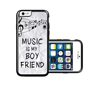 RCGrafix Brand Music Is My Boyfriend Hipster Quote iPhone 6 Case - Fits NEW Apple iPhone 6