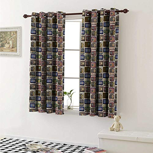 Retro Waterproof Window Curtain Cartoon Style Radio Pattern Multimedia Broadcasting Communication Theme Old Equipment Curtains Living Room W55 x L45 Inch Multicolor