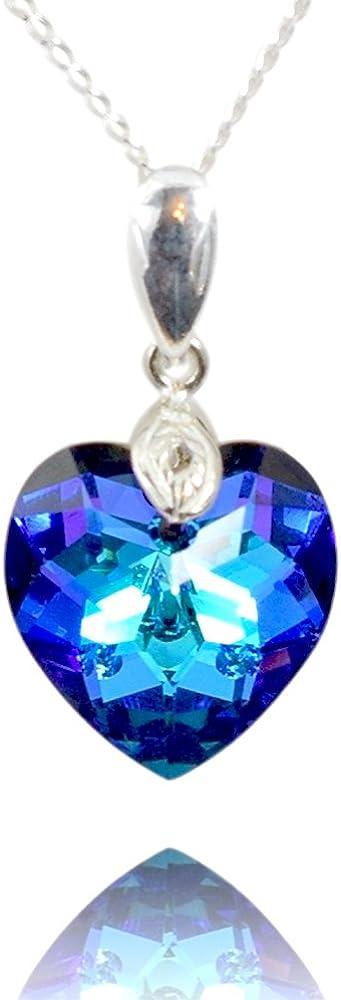 Crystals & Stones Top *Amor Corazón* *Heliotrope* con cadena de plata de plata de ley 925 con Swarovski® Elements Original Colgante, collar con joyas funda, ideal como regalo para mujer
