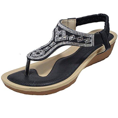 Reino tacón de DL34 Unido para mujer bajo y de con Zapatillas Negro mujer sandalias Tamaño Zapatillas planas ballet Dolly HZtwqq
