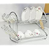 Tomasar Dish Rack Stainless Steel Two Tier Draining Rack Rustless Storage Rack with Chopstick Tray Holder (Silver-1)