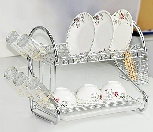 Cindere 2-Tier Dish Rack with Removable Drainboard Stainless