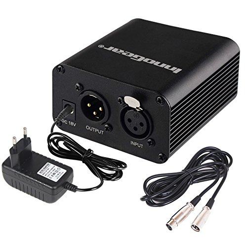 InnoGear Einkanal 48V Phantomspeisung versorgt mit dem Adapter und Audio XLR Kabel (3 Meter) für irgendeinen Kondensator Mikrofon Musik Rekorder
