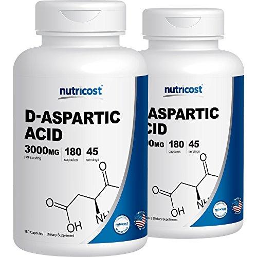 Nutricost D-Aspartic Acid Capsules (180 Caps) (2 Bottles)