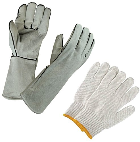 Kelyn Jac's Grey Leather Weld Gloves for Forging, Blacksmiths, Pot Handling, Casting, Melting, Furnace, BBQ, Stove, Grill, Plus 1 Pair Cotton Factory (Youth Gauntlet Gloves)