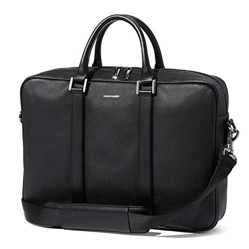 Hook and Albert Black Leather Formal Briefcase by HOOK & ALBERT