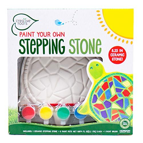 CREATIVE ROOTS Paint Your Own Turtle Stepping Stone by Horizon Group USA, 6 Paint Pots and Brush Included, Assorted
