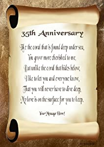 35th Anniversary Personalised Poem Gift Print: Amazon.co.uk: Kitchen ...