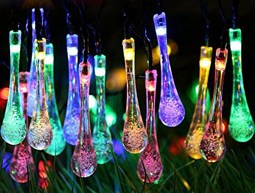 20' Island Decor (TOPCHANCES Solar Outdoor String Lights 20ft 30 LED Water Drop Solar String Lights Christmas Powered String lights for Garden, Patio, Yard, Household, Christmas Tree, Parties (Colorful))